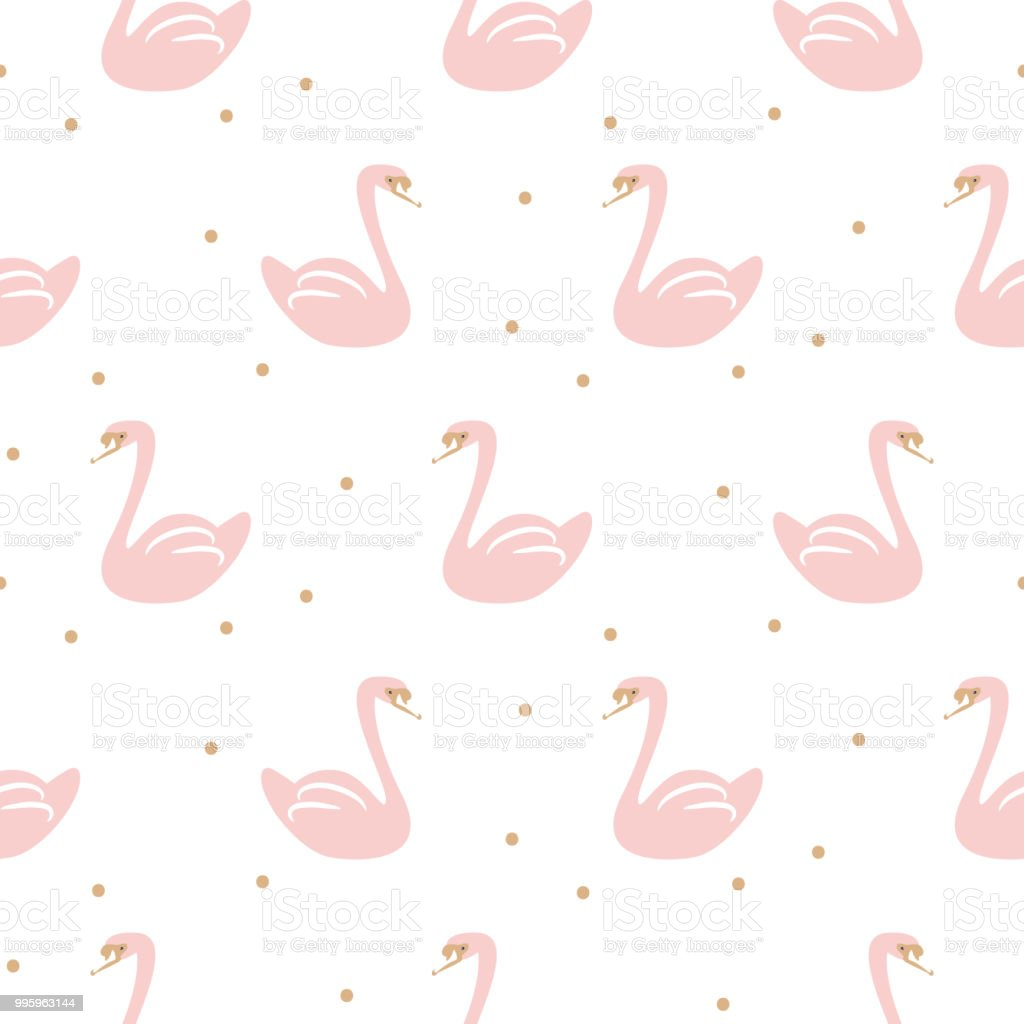 Swan pink cute baby simple seamless vector pattern illustration