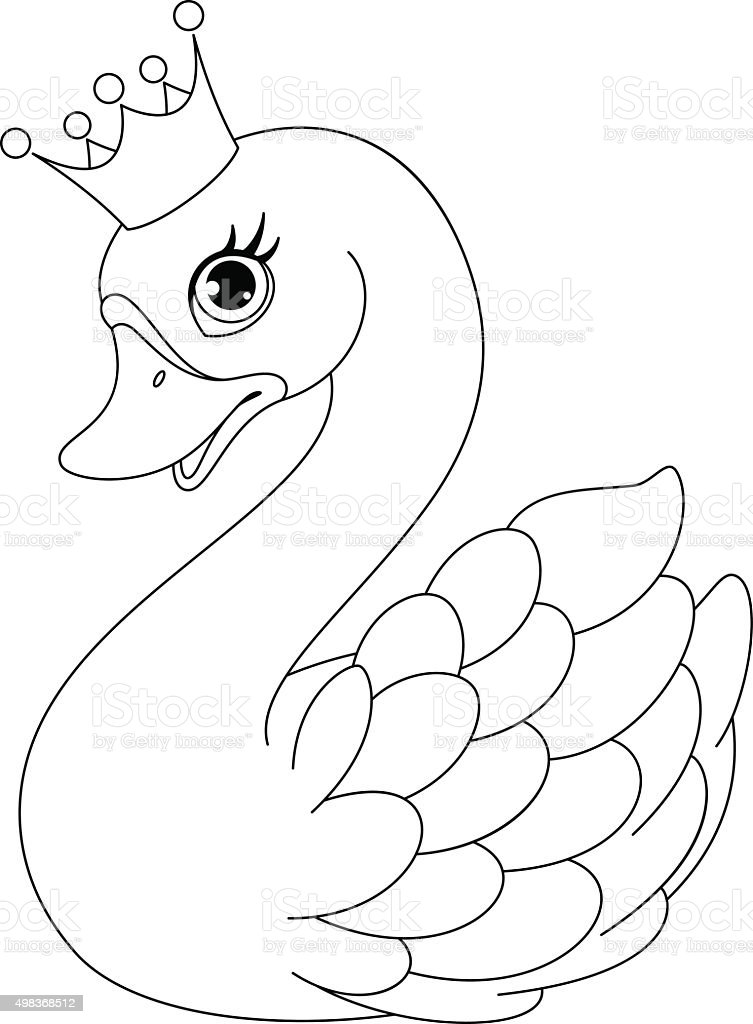 Swan Princess Coloring Page Royalty Free Stock Vector Art