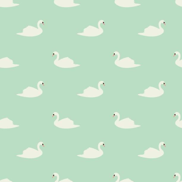 Swan seamless pattern on mint background, vector illustration vector art illustration