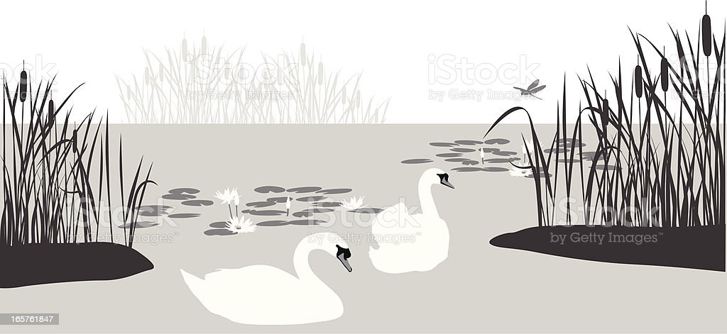 Swan'n Cattails Vector Silhouette royalty-free stock vector art