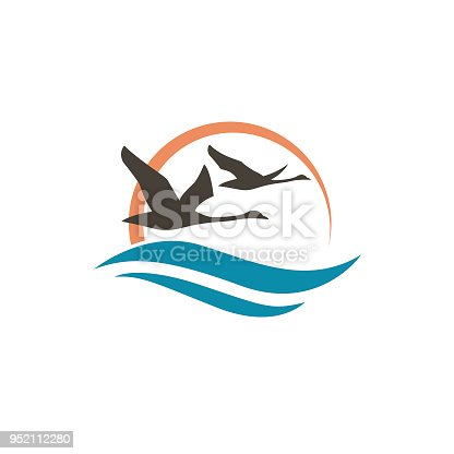 abstract icon with swans, sun and waves