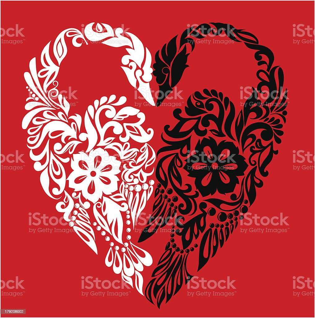 Swans in the form of heart, symbol love, abstract background royalty-free stock vector art