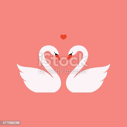 Simple vector illustration of two white swans in love. Illustrator 10 EPS file. Global swatches make editing and recoloring easy.