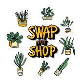 Swap meet. Plant exchange. Vector illustration.