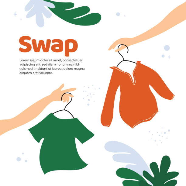 Swap shop or party template Vector illustration for swap shop or party, event of exchange old wardrobe for new. Two hands with clothes hangers. Exchange clothes. Template for banner,poster, layout,flyer, invitation,advert, print ethical consumerism stock illustrations