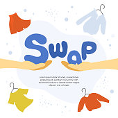 Vector illustration for swap shop or party, event of exchange old wardrobe for new. Two hands with letters S and A. Exchange clothes. Template for banner, poster, layout, flyer, invitation, advert, print