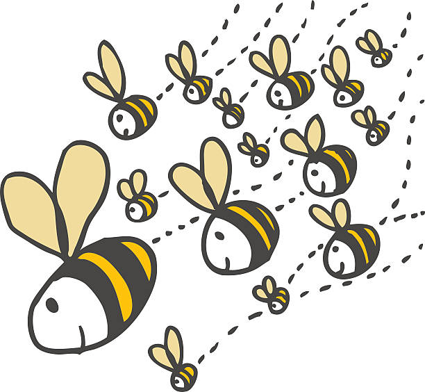 Swarm of Bees  swarm of insects stock illustrations