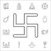 Swastika icon. Set of religion icons. Web Icons Premium quality graphic design. Signs, outline symbols collection, simple icons for websites, web design, mobile app
