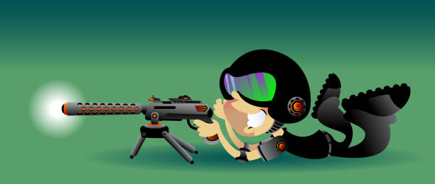 Swat Dude Laying Down vector art illustration
