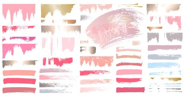 stockillustraties, clipart, cartoons en iconen met stalen make-up lijnen. set beauty cosmetische naakt borstel vlekken uitstrijkje make-up lijnen collectie lipstick stalen textuur geïsoleerd roze gouden verf lijn gouden textuur. hand getekende vector illustratie. - rouge