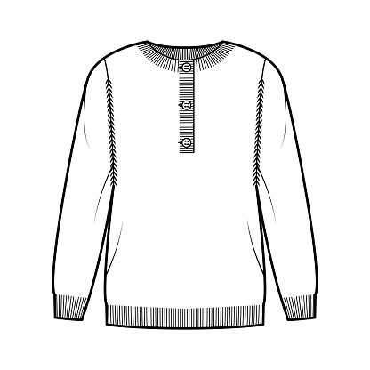 Sweater henley neck technical fashion illustration with long sleeves, oversized, fingertip length, knit cuff trim