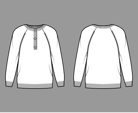 Sweater henley neck technical fashion illustration with rib crew collar, long raglan sleeve, fingertip length, cuff trim