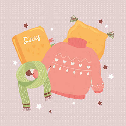 sweater scarf and cushion, cartoon hygge style