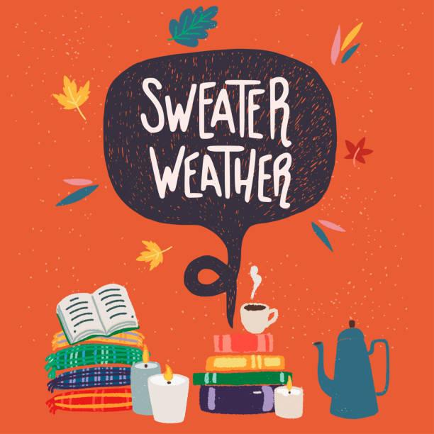 pullover wetter hand schriftzug und clipart - cozy stock-grafiken, -clipart, -cartoons und -symbole