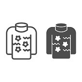 istock Sweater with patterns line and solid icon, Christmas and New Year concept, knitted clothes sign on white background, holiday winter jersey icon in outline style for mobile concept. Vector graphics. 1285388571