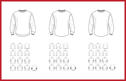 Sweatshirt template different vector models, front and back view