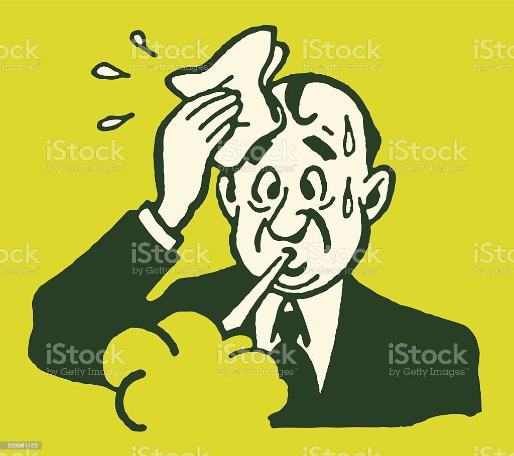Sweaty Man in Suit Wiping Head vector art illustration