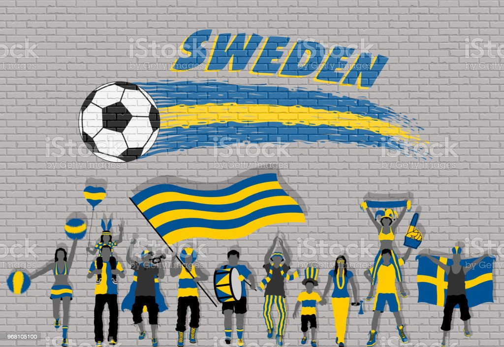 Swede Football Fans Cheering With Sweden Flag Colors In Front Of