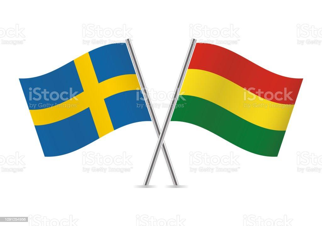 Banderas de Suecia y Bolivia. Ilustración de vector. - ilustración de arte vectorial