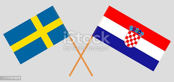 Sweden and Croatia. Crossed Swedish and Croatian flags. Official colors. Correct proportion. Vector illustration