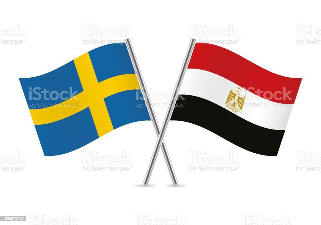 Banderas de Suecia y Egipto. Ilustración de vector. - ilustración de arte vectorial