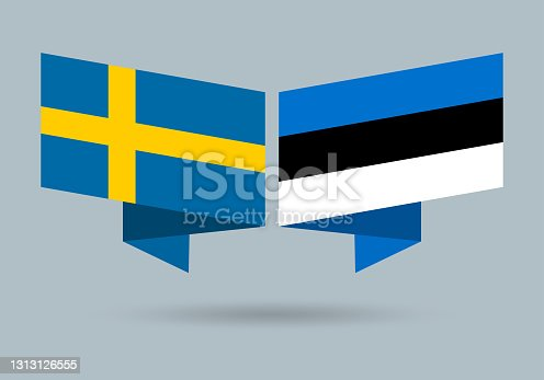 istock Sweden and Estonia flags. Swedish and Estonian national symbols. Vector illustration. 1313126555