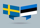 istock Sweden and Estonia flags. Swedish and Estonian national symbols. Vector illustration. 1313126555