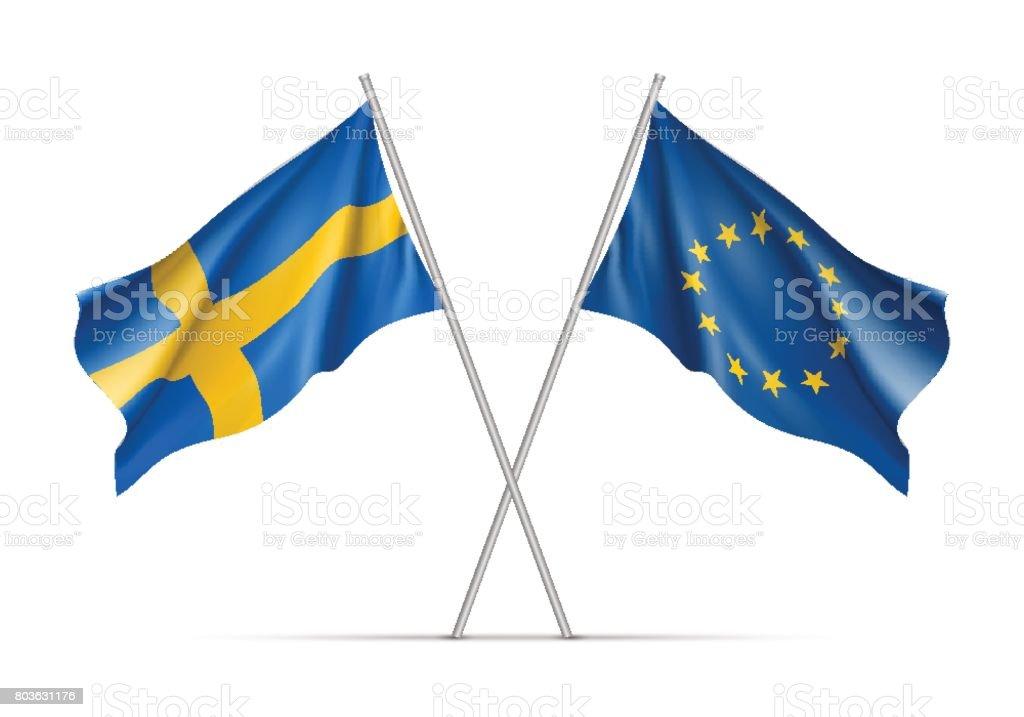 Suecia y la Unión Europea ondeando banderas - ilustración de arte vectorial