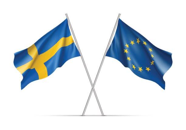 ilustraciones, imágenes clip art, dibujos animados e iconos de stock de suecia y la unión europea ondeando banderas - bandera sueca