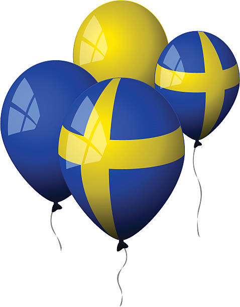 ilustraciones, imágenes clip art, dibujos animados e iconos de stock de suecia-globos - bandera sueca