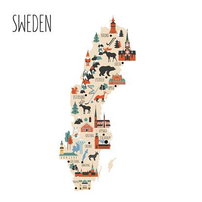 Sweden cartoon vector travel map, Swedish landmark flat building, City Hall of Stockholm, Synagogue of Malmoe, Water tower of Orebro, Church of Christina of Gotenborg, Uppsala Cathedral, Kalmar castle