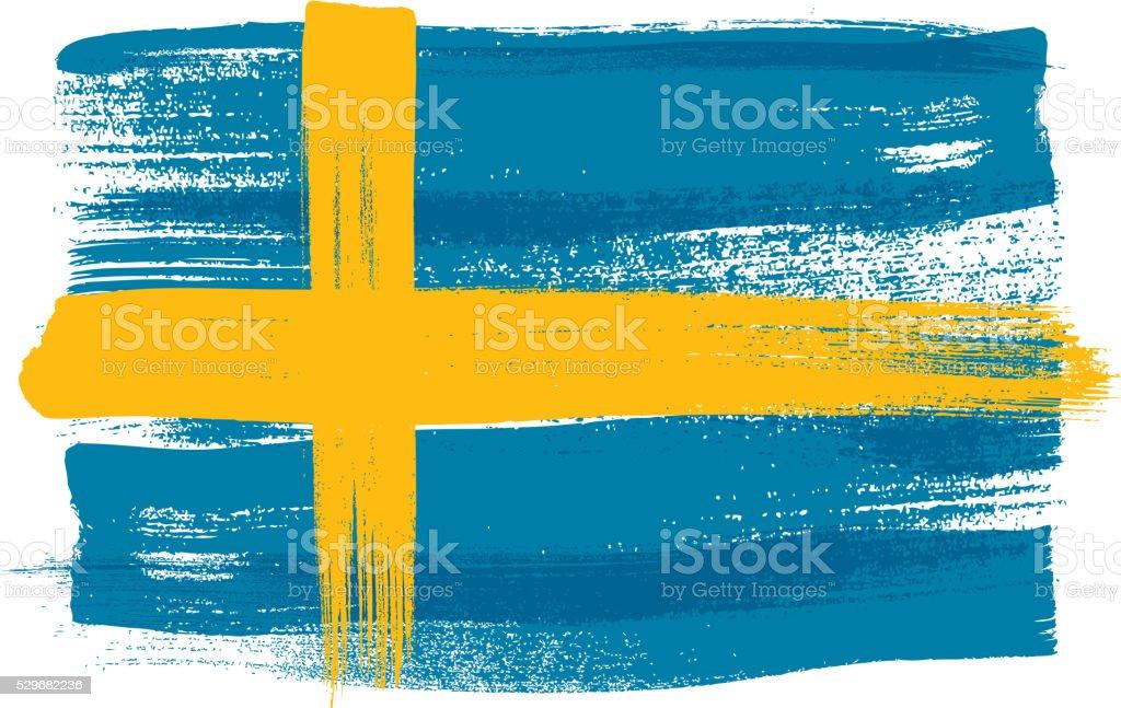 Schweden bunte mit Pinselstrichen Gemalte Flagge – Vektorgrafik