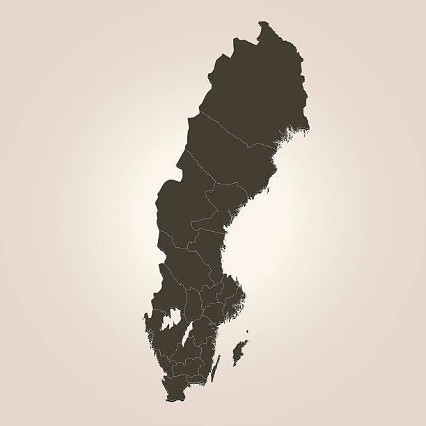 bildbanksillustrationer, clip art samt tecknat material och ikoner med sweden dark brown map on beige background - sweden map