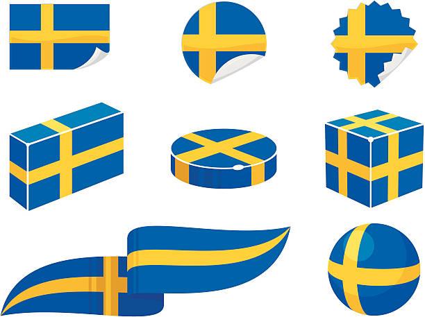 スウェーデンデザイン要素 - スウェーデンの国旗点のイラスト素材/クリップアート素材/マンガ素材/アイコン素材
