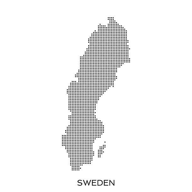 bildbanksillustrationer, clip art samt tecknat material och ikoner med sweden dot halftone pattern map - sweden map