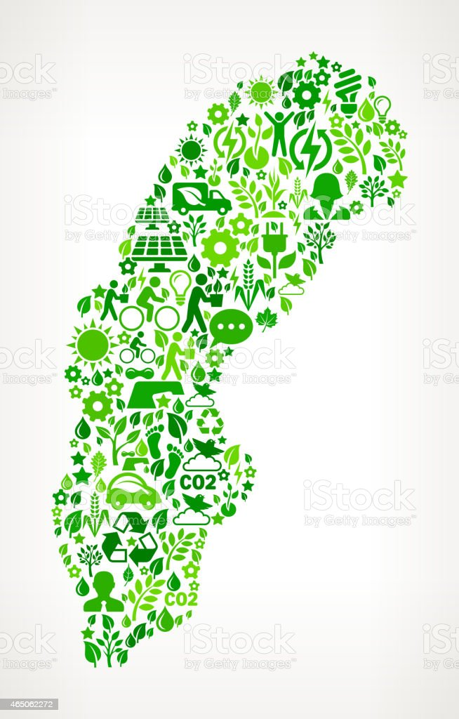 Sweden On Green Environmental Conservation and Nature Icon Pattern