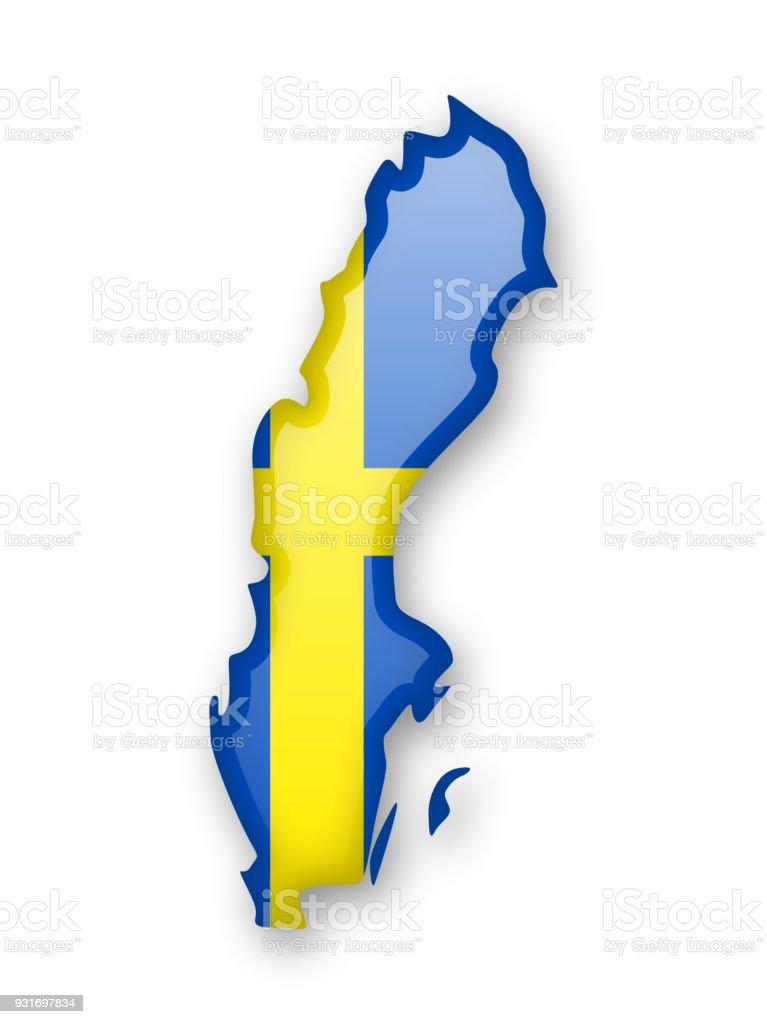 Bandera de Suecia y el contorno del país. - ilustración de arte vectorial