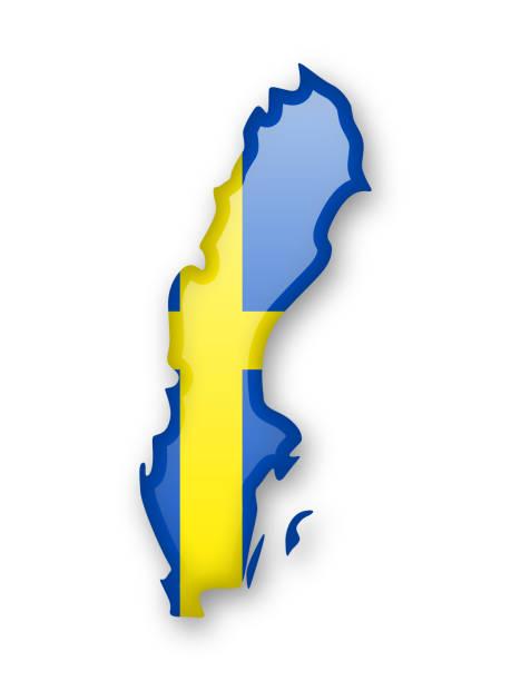 ilustraciones, imágenes clip art, dibujos animados e iconos de stock de bandera de suecia y el contorno del país. - bandera sueca