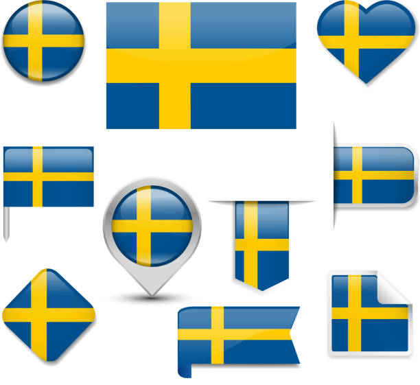Sweden Flag Collection vector art illustration