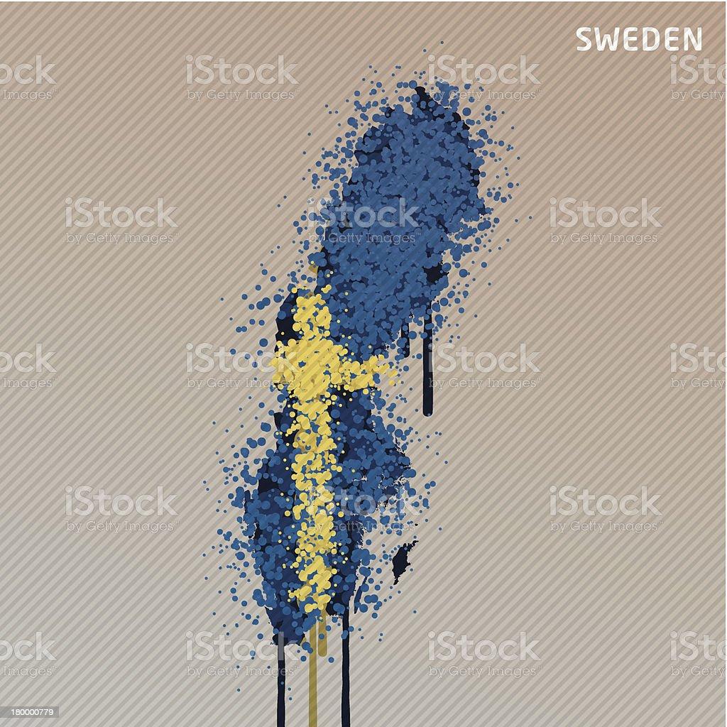 스웨덴 플랙 백색과 페인트 그래피티 맵 그런지 royalty-free 스웨덴 플랙 백색과 페인트 그래피티 맵 그런지 0명에 대한 스톡 벡터 아트 및 기타 이미지