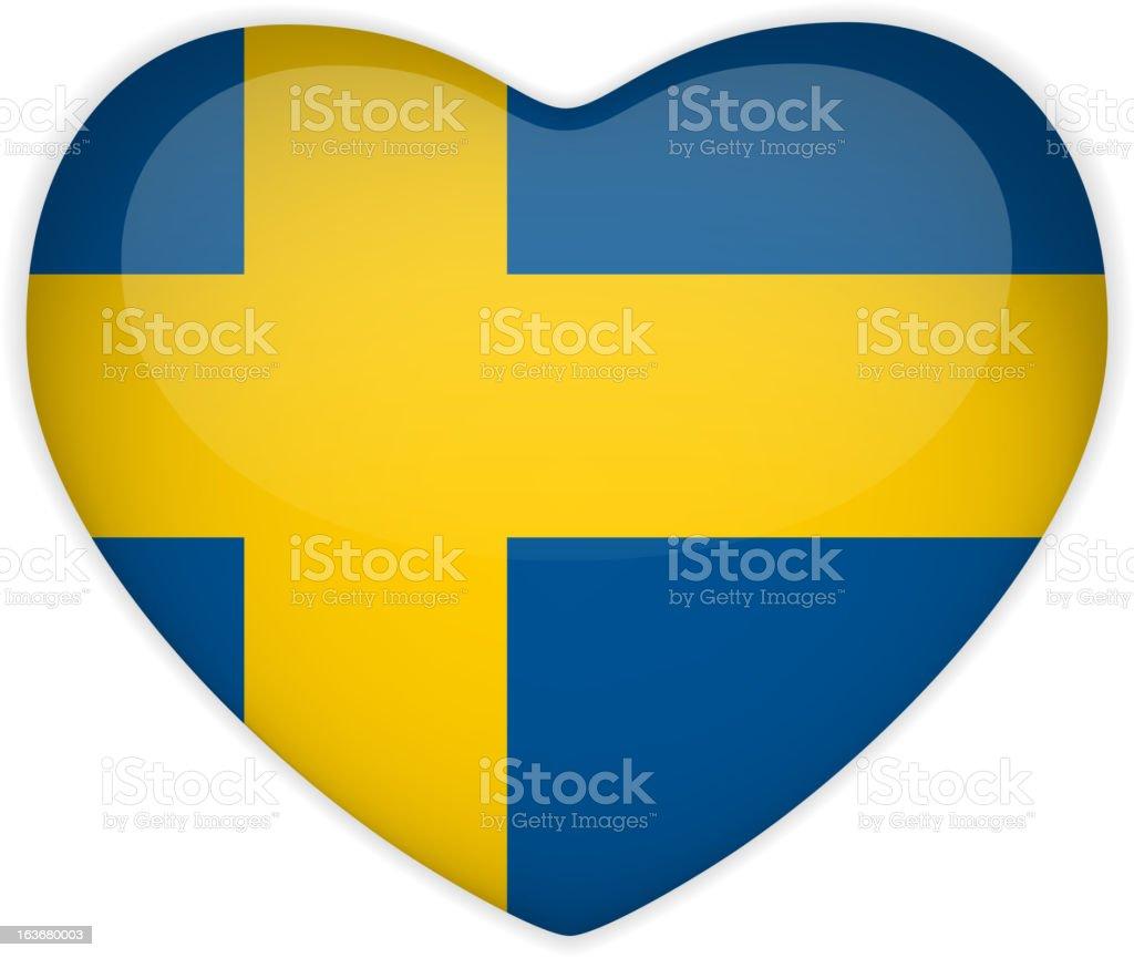 Suecia bandera corazón brillante botón - ilustración de arte vectorial