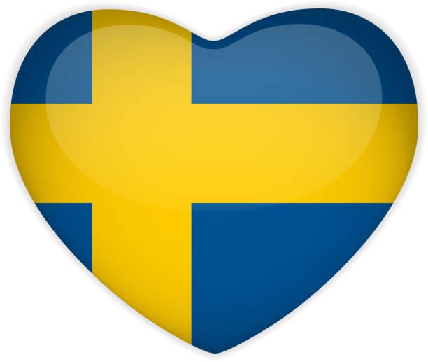 Sweden Flag Heart Glossy Button vector art illustration