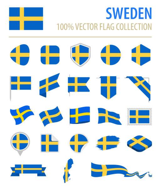 ilustraciones, imágenes clip art, dibujos animados e iconos de stock de suecia - bandera icono vector plano conjunto - bandera sueca