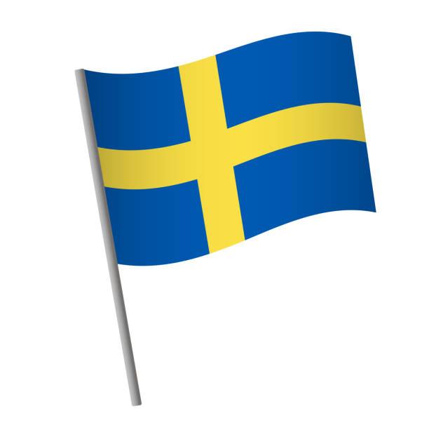 ilustraciones, imágenes clip art, dibujos animados e iconos de stock de icono de la bandera de suecia. - bandera sueca
