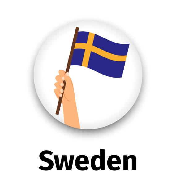 Schweden Flagge in der hand, Runde Symbol – Vektorgrafik