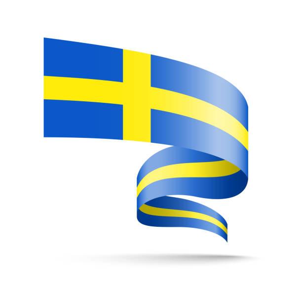 Sweden flag in the form of wave ribbon. vector art illustration