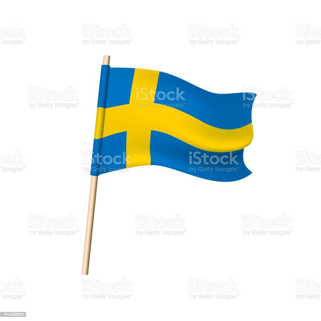 Schweden Flagge auf weißem Hintergrund – Vektorgrafik