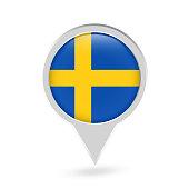 Sweden Flag Round Pin Icon. Vector icon.