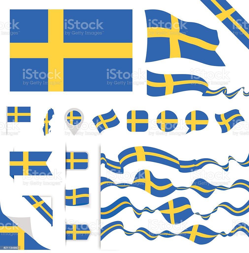 Sweden Flag Set - ilustración de arte vectorial