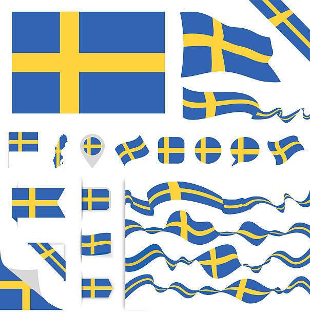 ilustraciones, imágenes clip art, dibujos animados e iconos de stock de sweden flag set - bandera sueca